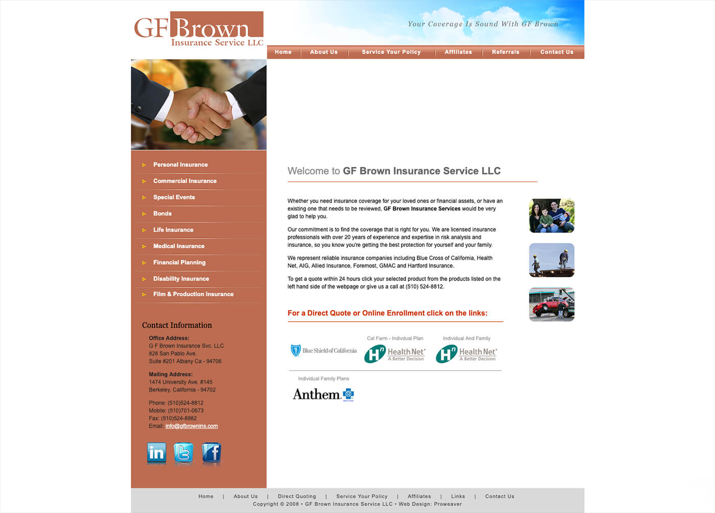 GF Brown Insurance Services website before the website re-design